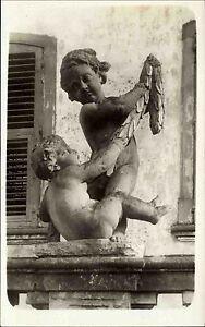 Kunst Skulptur Büste 2 nackte Knaben am Brunnen s/w Echtfoto-AK Einzelkarte