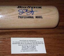 Sean Burroughs Autograph Rawlings Big Stick Baseball Bat Padres Twins COA