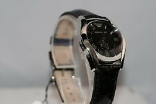 ARMANI Damenuhr AR0644 EA Luxus Uhr schwarzes Lederarband klassisch edel top NEU