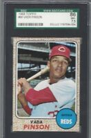 1968 Topps baseball card #90 Vada Pinson, Cincinnati Reds graded SGC 86 NM+ 7.5