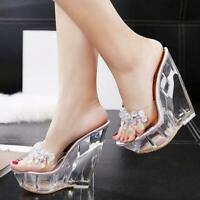 Women Transparent High Wedge Platform Slippers Rhinestones Diamond Mules Sandals