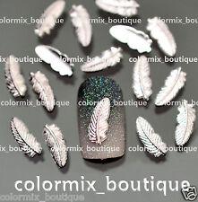 50 Pcs 3D Nail Art Decoration FEATHER Alloy Jewelry Glitter Rhinestone #AM02