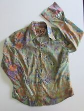 Womens ROBERT GRAHAM Colorful Batik Print Embroidered Button Down Shirt MEDIUM M