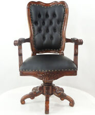 MAHAGONI CHESTERFIELD DREHSESSEL bequemer ARMLEHNSESSEL OFFICE SEATING FURNITURE