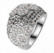 XL Strass Ring Blumen schwarz silber Gr. 53 16,8 mm