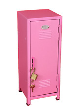 "Pink Glitter Kids Mini Metal Locker Kids Metal Treasure Box 10.75"" tall"