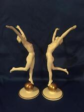 2 Art Deco Hutschenreuther Sun Child Nude Woman Figurine Statue Karl Tutter