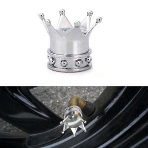 4× Chrome Crown Car Accessories Tire Air Valve Stem Screw Caps Cover Wheel Rims