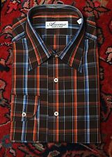 Ancona Men's Brown Blue & Orange Check Made In Italy Casual Shirt XL XLarge NEW