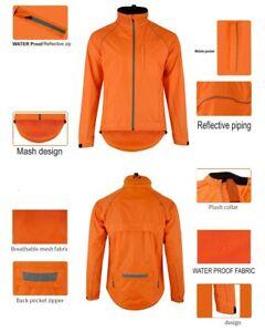 Men's Orange Cycling/Running Rain Jacket Night vision Breathable Wind/Waterproof