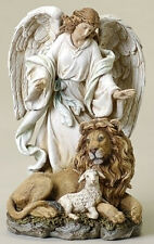 """Christmas Decorations - """"Keeping Watch"""" Angel With Lion And Lamb Figurine"""
