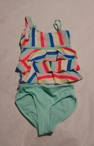 NWT Justice Girls Rainbow Stripe One Shoulder Tankini Two Piece Swimsuit