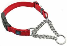 Max and Neo Stainless Steel Chain and Nylon Martingale Collar - Small - Red