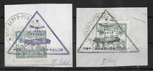 PARAGUAY 1931 Used on Paper Graf Zeppelin Lot of 2 Unchecked