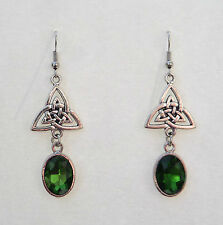 CELTIC KNOT DARK SILVER PLATED TRI EARRINGS , FACETED GREEN GLASS CRYSTAL OVAL