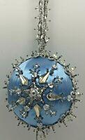 Vintage Handmade Christmas Satin Beaded Ornaments Beads Push Pins Blue Snowflake
