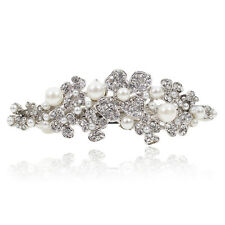 B59 Holy White Rhinestone Pearl Flower Barrette Hair Clip Bridal Party Gift
