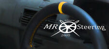 FOR VAUXHALL OMEGA B 1994-2003 BLACK LEATHER STEERING WHEEL COVER + YELLOW STRAP