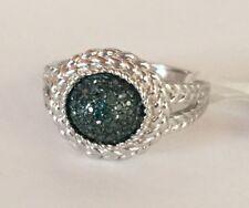 Sparkling .20 Carat Pave Blue Diamond Ring 925 SS, Sz 8, NIB, Great Xmas Gift