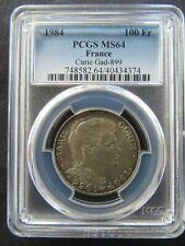 France : 100 Francs 1984 Silver Marie Curie ; PCGS : MS 64 aUNC