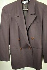 Christian Dior 100% Wool Brown Double Breasted Lined Blazer Size - 10