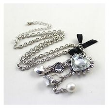 Retro Silver Heart Shaped key Ring Crystal Multilayer Tassels Pendant Necklace