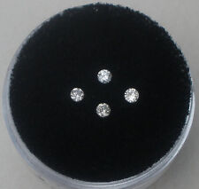 4 Natural White Diamond Loose Faceted Rounds 2mm each