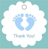 50 Baby Shower Favor Tags - Thank You - Pink, Blue or ANY Color - Footprints