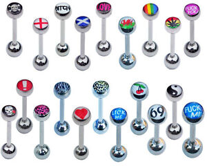 Logo tongue bars Top quality Surgical steel cool funky cartoon novelty gift