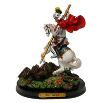 "5.5"" Statue of Saint St George Slaying Dragon San Jorge Santo Knight Figurine"