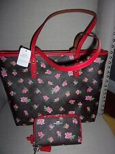 NWT COACH F57888 MSRP $500 FLORAL CITY TOTE HANDBAG AND MATCHING WALLET NEW