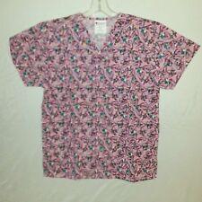 Allheart Womens Pink Valentine Hearts Print Scrub Top Size XS