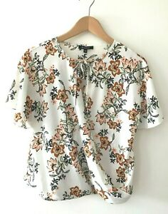 Basque Floral Top Size 10 Petites Frill Short Sleeve Work Office