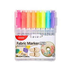 Monami Fabric Marker 470 Brush Nib pen - 8 Colors B Set