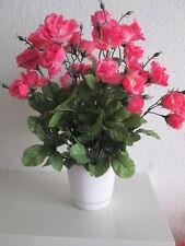 1 Rosenbusch incl Topf 38cm 36 rosa Blüten Künstliche Kunst Blume Kunst Pflanzen