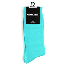 Men's Colorful Solid Turquoise Dress Casual Socks Size 10-13 New Wedding