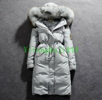 Women's Down Coat 100% Real Fur 90% Down Jacket Knee Length Long Zipper Parka YT