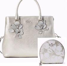 KATE SPADE Larchmont Avenue Evangelie + Sari Wallet Silver Floral Applique Bag