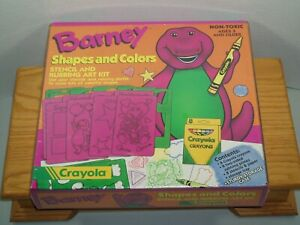 BARNEY SHAPES & COLORS STENCIL and RUBBING ART KIT 1993 Vintage Sealed NOS Kids