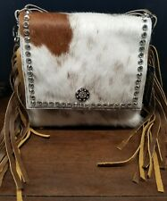 Raviani Western Leather & Hide Cross Body Handbag Purse w/ Fringe & Concho R1