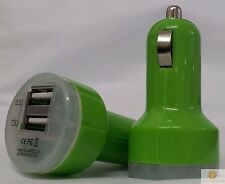 GREEN Universal Dual USB Cable Car Cigarette Lighter Charger Adapter 2 Double