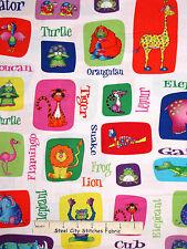 Jungle Animal Fabric - Monkey Gator Turtle Frog RJR #2339 Jungle Things - Yard