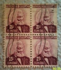 1967 Scott 1290 U. S. Frederick Douglass four used 25 cent stamps off paper