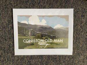 Retro Contemporary Travel Poster Print Coniston Old Man Lake District 14x11 New