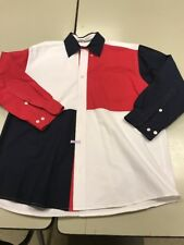Mens L (large) Orivs red, white & blue patriotic shirt 100% Cotton. EUC.