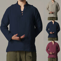 INCERUN Mens Long Sleeve Linen Shirt Chinese Style Cotton T-Shirt Retro Tops Tee