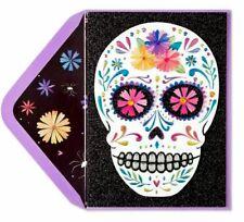 Papyrus Día de los Muertos Day of The Dead Sugar Skull Halloween Card 3D flowers