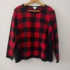 J. Jill Buffalo Plaid Long Sleeve Sweater Size Petite M
