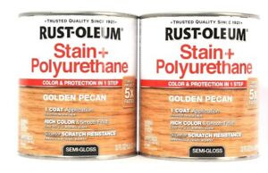 2 Cans Rust-Oleum 32 Oz Stain & Polyurethane 344671 Golden Pecan Semi Gloss