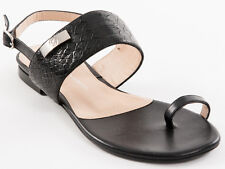 New Roberto Serpentini Black  Leather Sandals Made in Italy Size 39 US 9